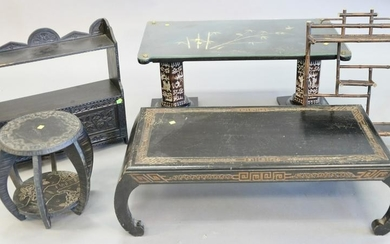 Six piece Asian lot, includes: a two-panel screen with