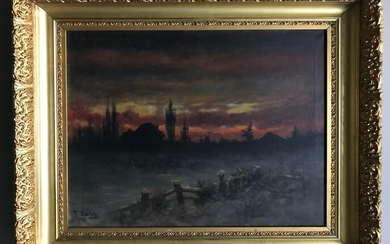 T Bailey, Sunset Landscape, Oil on Canvas