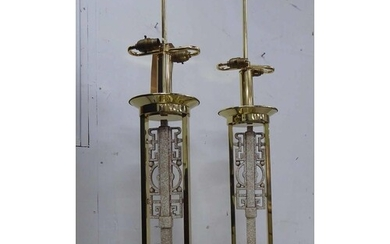 TABLE LAMPS, a pair, brass, with faux stone detail, 87cm H. ...