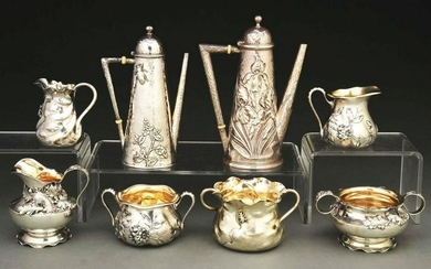 TWO AMERICAN STERLING DEMITASSE COFFEE POTS AND OTHER