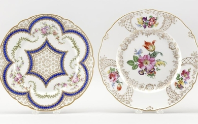 TWO PORCELAIN SERVICE PLATES 1) Meissen, with hand-painted flower sprays and raised gilt details. Second-quality crossed swords mark...