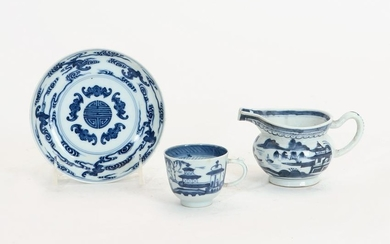 Three Chinese porcelain blue & white table articles