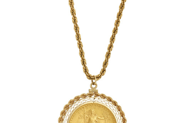 Three Gold, Synthetic Ruby and Gold Coin Pendants and Chain with One Low Karat Gold Chain
