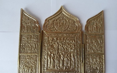 Triptych (1) - Bronze (gilt/silvered/patinated/cold painted)
