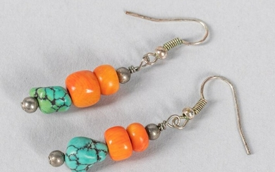 Turquoise & Coral Like Earrings