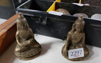 Two Brass Seated Deity Figures