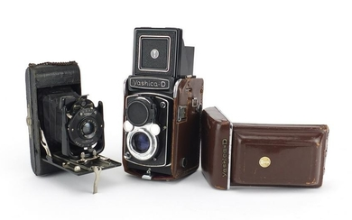Two vintage camera's comprising a Yashica-D and Ensign