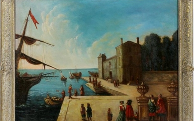 VENETIAN OIL ON CANVAS, VENICE WHARF SCENE