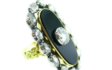 Victorian Onyx 14k Yellow Gold and Rose Cut Diamond