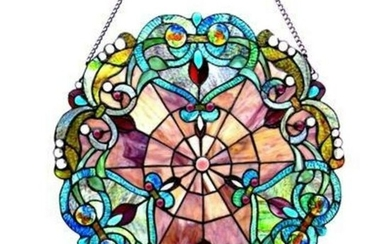 Victorian Tiffany-style Round Stained Glass Window