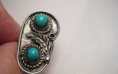 Vintage Navajo Silver Ring - Double Turquoise Stones.