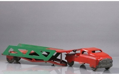 Vintage Pressed Steel Toy Car Carrier Red and Green