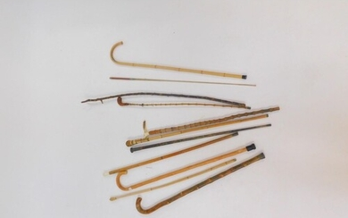 Walking sticks and canes, 19thC and later, together with a r...
