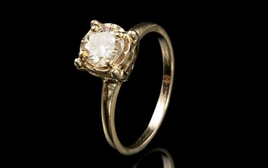 Yellow Gold and Diamond Solitaire Ring
