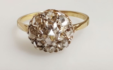 diamants taille rose - 18 kt. Pink gold, Yellow gold - Ring Diamond - Diamond