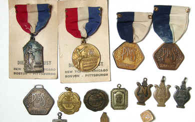13 school band pins and awards from the 1930's