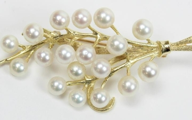 14k yellow gold and pearl brooch pin