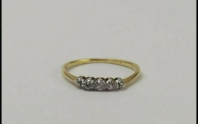 18ct Yellow Gold Diamond Trilogy Ring UK Size M+ US 6 ¼