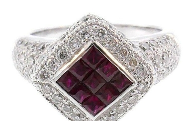18k White Gold Diamond Ruby Ring