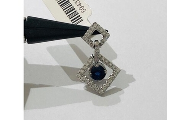 18k white Gold Pendant with Diamonds (0.33ct) and Sapphire, ...