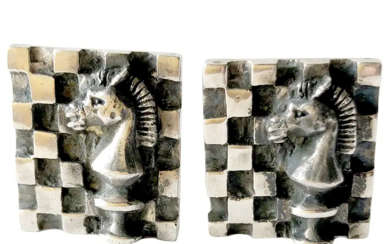 1960s Walter Wright Sterling Silver Knight Chess Cufflinks