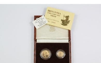 1987 Royal Mint Britannia gold two coin proof set, approx 7....