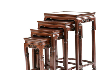 (4) VINTAGE CHINESE ROSEWOOD NESTING TABLES