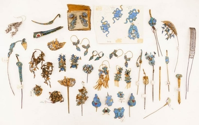 40pc Collection of Chinese 19th Cent. Kingfisher