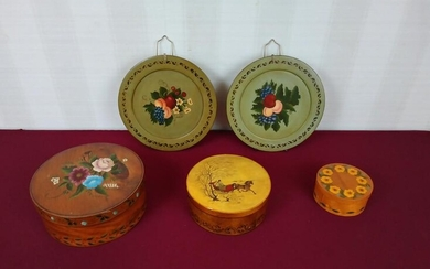 5 Hand Painted Boxes and Plates