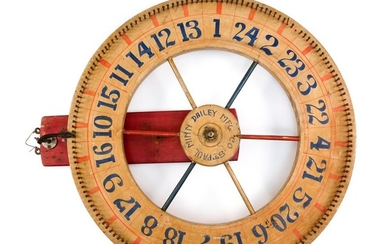 """HAND-PAINTED CARNIVAL GAME OF CHANCE WHEEL Center with painted lettering """"St. Paul Minn Dailey Mfg Co"""". Wheel with black numbers and..."""