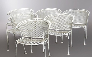 6 Mid Century Modern Wire Mesh Patio Arm Chairs, 20th C