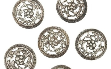 A CASED SET OF LATE VICTORIAN SILVER BUTTONS, the round