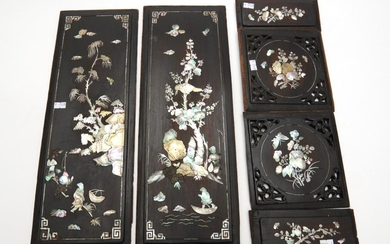A COLLECTION OF MOTHER OF PEARL INLAID WOODEN PANELS