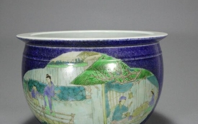 A Chinese Blue Glaze Famille Verte Painted Porcelain