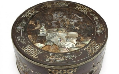 A Chinese Circular Wooden Sewing Box with