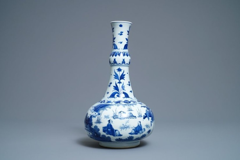 A Chinese blue and white bottle vase with...