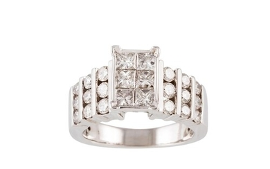 A DIAMOND CLUSTER RING, set with six princess cut diamonds a...