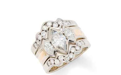 A Diamond and Two-Tone Gold Ring and Jacket