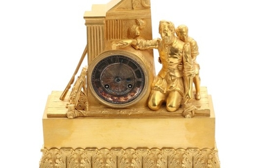 A French gilt bronze mantel clock, decorated with a sculpture and a boy, silvered dial with Roman numerals. Signed. 19th century. H. 36 cm.