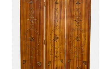 A George III style three-fold hand-painted wood grained scre...