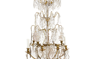 A Louis XV Style Bronze and Glass Eight Light Chandelier