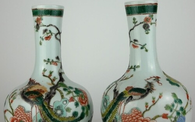A PAIR OF 19TH CENTURY CHINESE VASES With enamelled decorati...