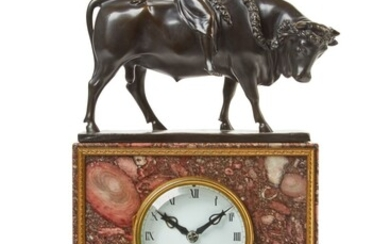 A PATINATED BRONZE AND GILT-MOUNTED BRECHE VIOLETTE MARBLE SCULPTURAL MANTEL CLOCK, GERMAN, CIRCA 1925
