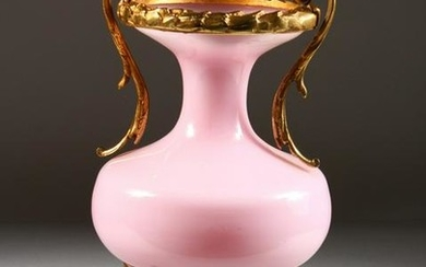 A PINK GLASS AND BRASS TWO-HANDLED VASE. 12ins high.