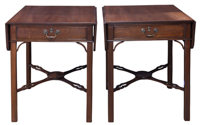 A Pair of Chippendale style mahogany pembroke tables