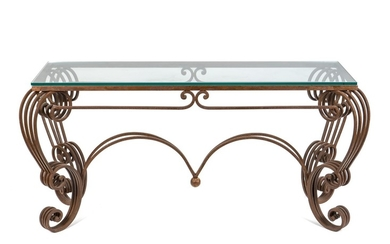 A Rococo Style Wrought Iron and Glass Patio Table