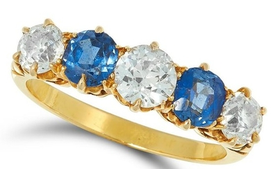 A SAPPHIRE AND DIAMOND FIVE STONE RING set with round