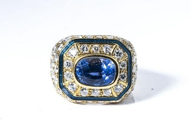 A SAPPHIRE, ENAMEL AND DIAMOND RING