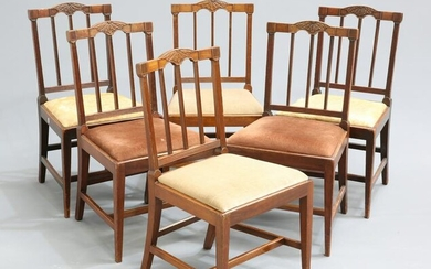 A SET OF SIX GEORGE III MAHOGANY DINING CHAIRS, each