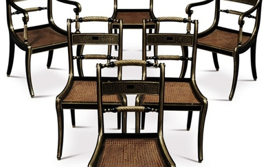 A SET OF SIX REGENCY BLACK PAINTED AND PARCEL GILT DINING CHAIRS, CIRCA 1815
